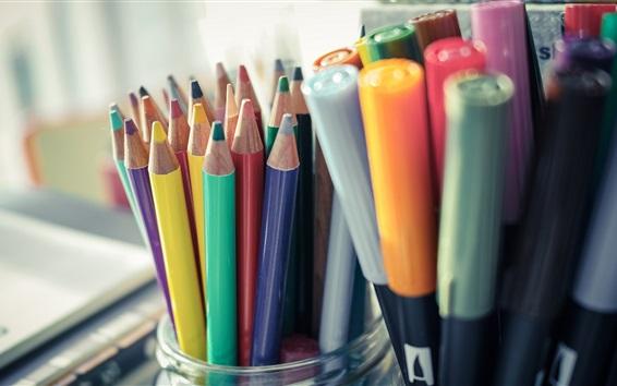 Обои Цветные карандаши, натюрморт