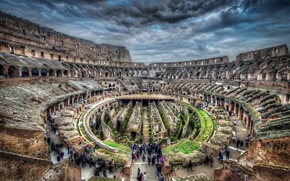Fond d'écran Colisée, Rome, Italie, ruines, touristes, tour