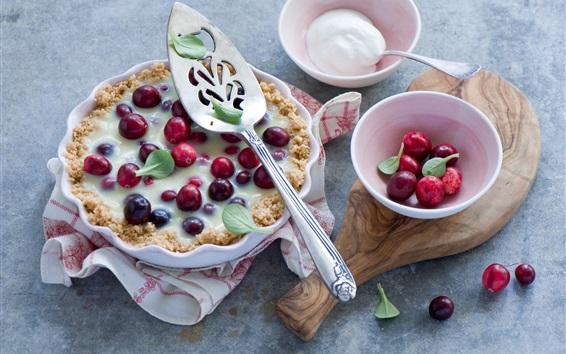 Papéis de Parede Cranberries bolo, creme, alimentos