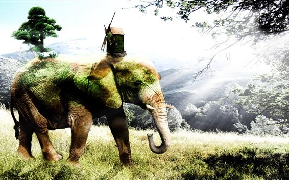 Fond d'écran Image créative, éléphant, herbe, arbres, hut, moulin à vent