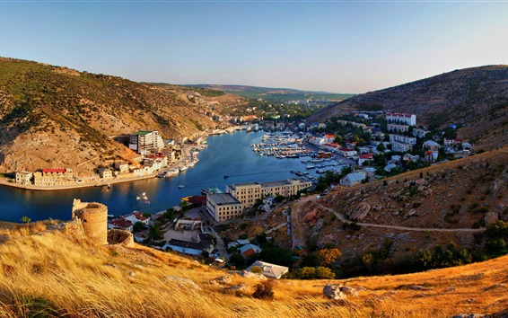 Wallpaper Crimea, Balaklava, mountains, river, boats, city