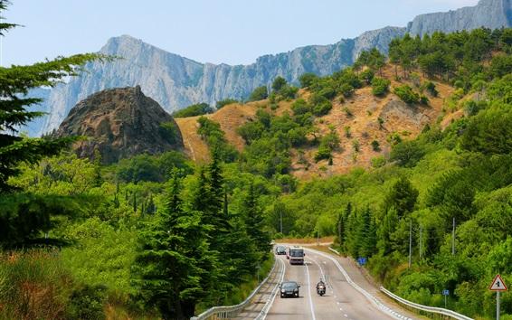Fond d'écran Crimée, arbres, montagnes, route