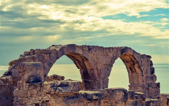 Wallpaper Cyprus, sea, curio, ruins, clouds
