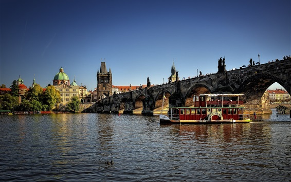 Wallpaper Czech Republic, city, river, bridge, boats, houses, Prague