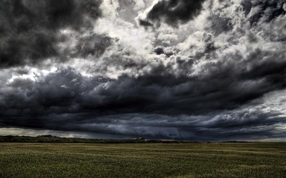 Fond d'écran Nuages sombres, tempête arrivera, champs