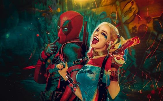 Wallpaper Deadpool, Wade Wilson, Suicide squad, Harley Quinn