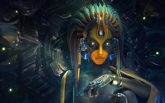 Fond d'écran Art numérique, fille fantastique, cyborg