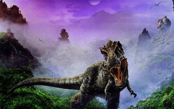 Papéis de Parede Imagem de arte de dinossauros, colmilhos, nevoeiro