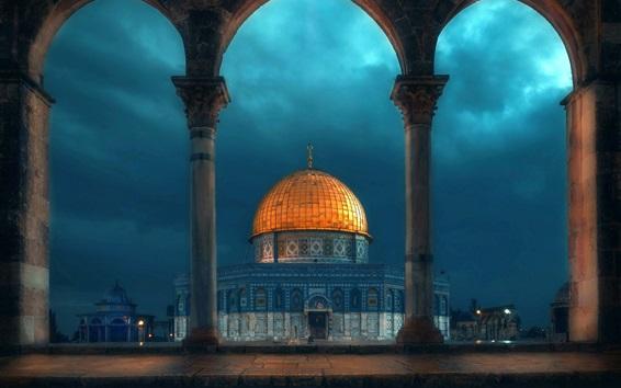 Papéis de Parede Dome mesquita, noite, arquitetura, nuvens