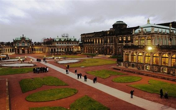 Wallpaper Dresden, Germany, old buildings, lawns, dusk
