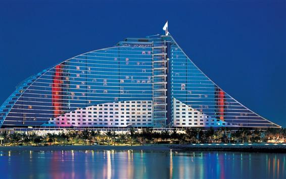 Wallpaper Dubai, UAE, Jumeirah Beach Hotel, water, palm trees, buildings