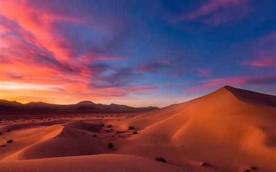 Wallpaper Dunes, desert, sand, sky, clouds, dusk