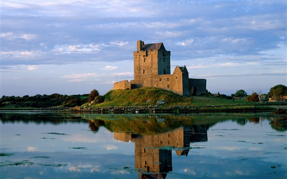 Wallpaper Dunguaire Castle, Ireland, lake, water reflection