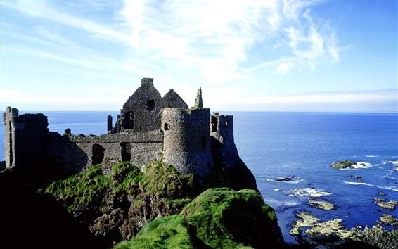 Papéis de Parede Dunluce, castelo, Irlanda, mar, costa