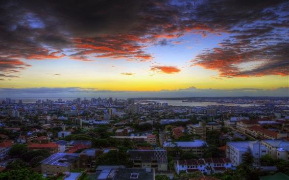 Papéis de Parede Durban, África do Sul, cidade, crepúsculo, pôr do sol