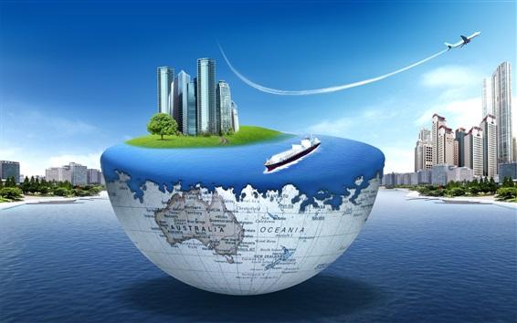 Wallpaper Earth, sea, skyscrapers, plane, creative design