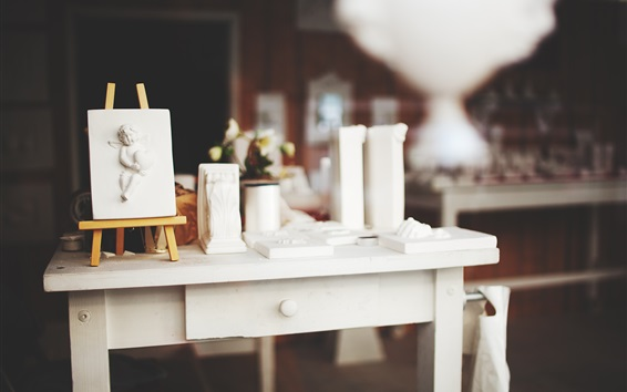 壁紙 イーゼル、白いテーブル