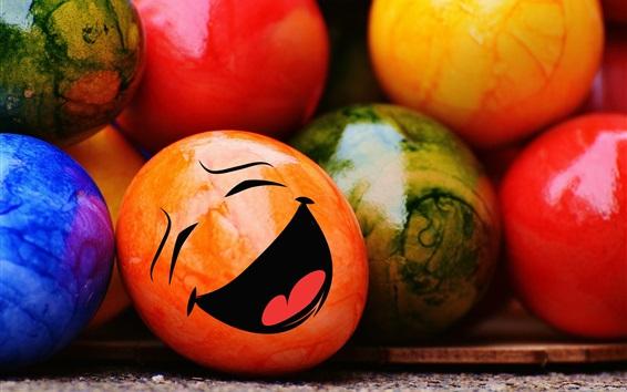Обои Пасхальные яйца, счастливый смайлик