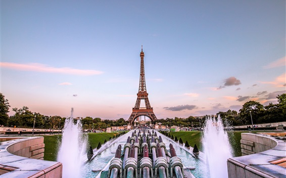 Wallpaper Eiffel Tower, Paris, France, fountain