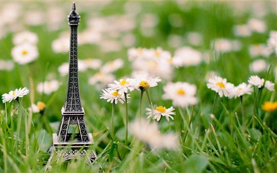 Wallpaper Eiffel Tower model in the flowers