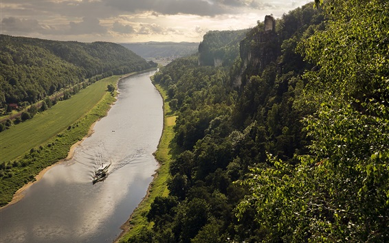 Wallpaper Elbe Valley, Germany, Saxony, river, trees, boat