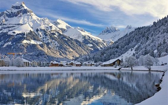Papéis de Parede Engelberg, Suíça, montanhas, neve, inverno, lago, casas