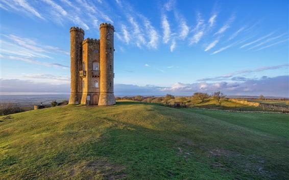 Wallpaper England, Broadway Tower, hill, blue sky