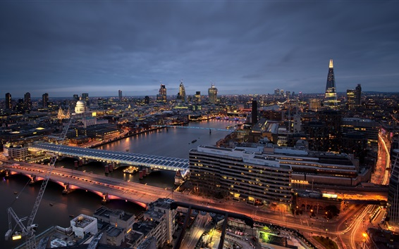 Wallpaper England, London, city, night, river, bridge, buildings, lights