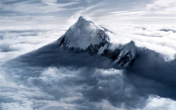 Fondos de pantalla Everest montaña al atardecer, la nieve, las nubes