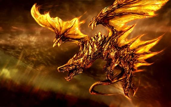 Wallpaper Fantasy 3D dragon, fire, wings