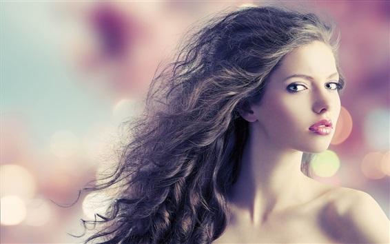 Wallpaper Fashion model girl, curls