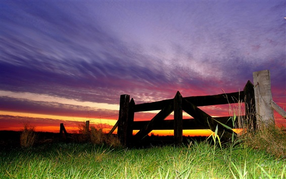 Wallpaper Fence, grass, clouds, sky, dusk