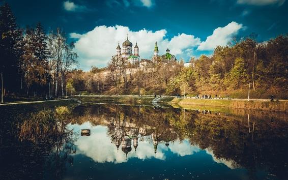 Wallpaper Feofania Park, Kiev, Ukraine, cathedral, lake, water reflection