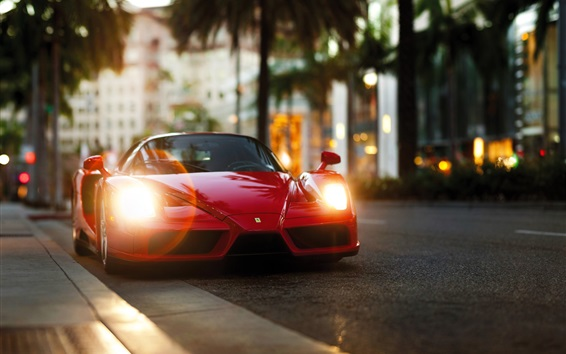 Wallpaper Ferrari Enzo red supercar front view, lights