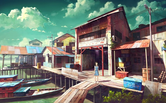 Wallpaper Fishing port, boats, shop, anime girl