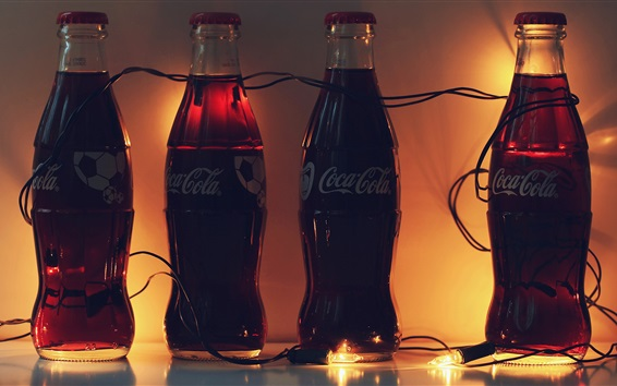 Four bottles Coca Cola, drinks Wallpaper Preview
