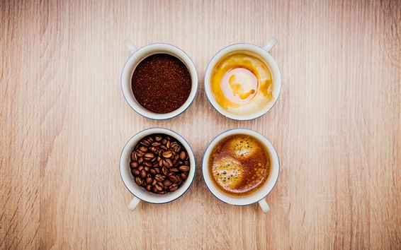 Vier Tassen Kaffee, Getränke 3840x2160 UHD 4K Hintergrundbilder, HD ...