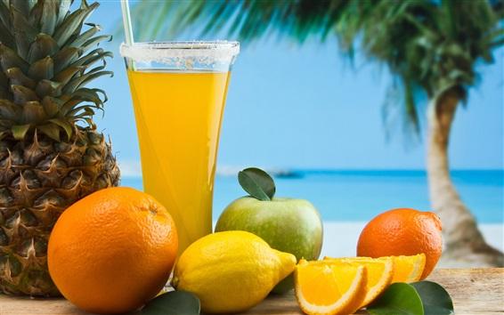 Wallpaper Fruits drinks, cocktail, orange, lemon, apple