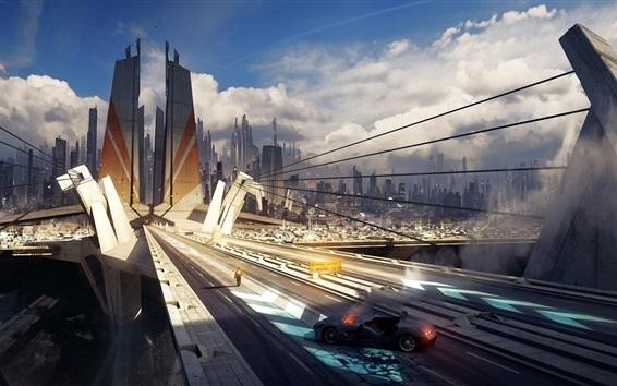배경 화면 미래 도시, 고층 빌딩, 다리, 교통 사고