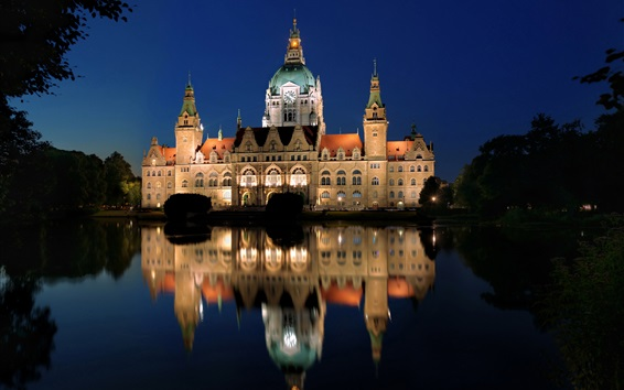 Wallpaper Germany Hannover New Town Hall, night, lights