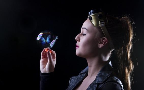 Fond d'écran Fille joue des bulles, ombre papillon