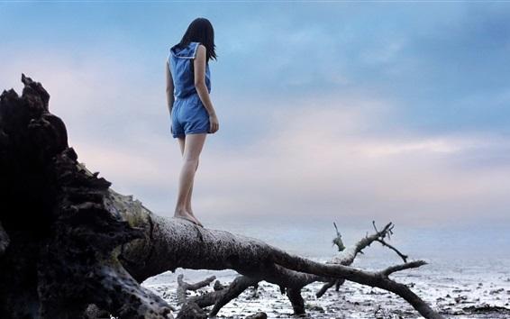 Wallpaper Girl standing on dry tree
