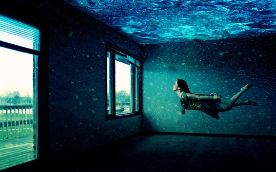 Wallpaper Girl swimming in house, windows, water, creative picture