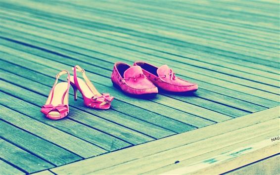 Wallpaper Girls footwear, pink style, wood board