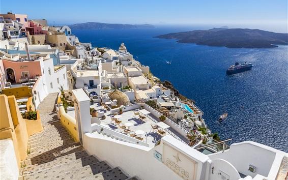 Wallpaper Greece, Santorini, sea, coast, houses, island