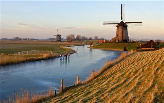 Papéis de Parede Holland, moinho de vento, rio congelado, grama