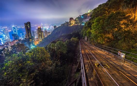 Fond d'écran Hong Kong la nuit, les gratte-ciel, les lumières, la colline, la piste