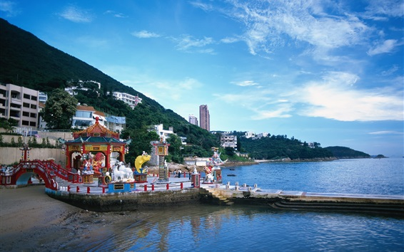Wallpaper Hong Kong, city view, coast, village, sky, clouds