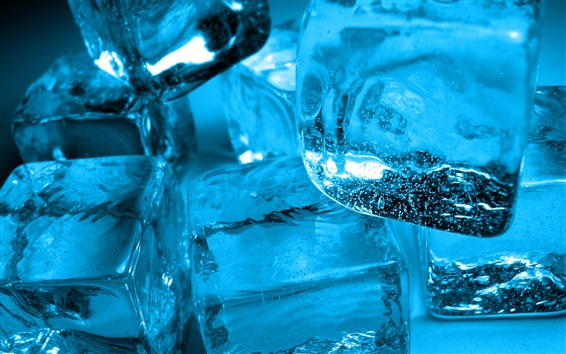 Wallpaper Ice cubes in water, cold drinks
