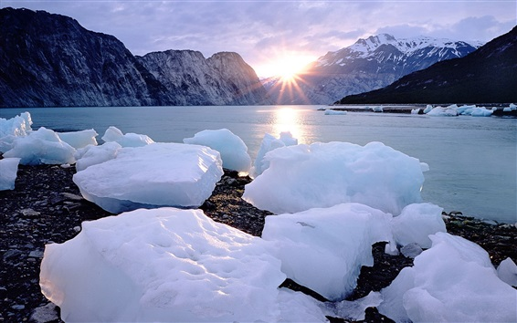 Wallpaper Ice cubes, snow, coast, sea, sunset, mountains